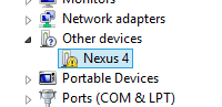 Nexus 4 showing in Device Manger when its not installed correctly