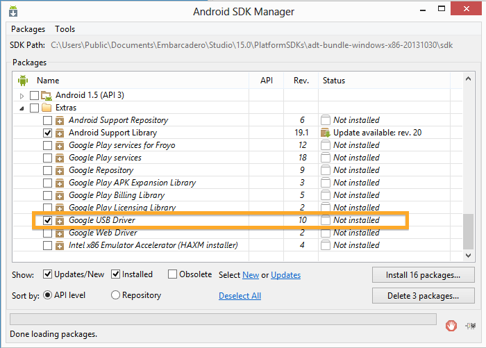 Android SDK Manager, USB Drivers ready to update