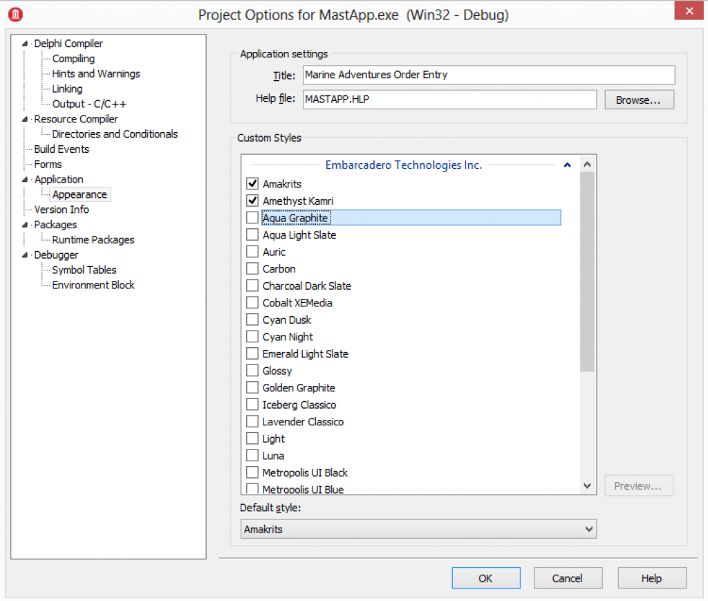Adding VCL Styles to Project : Options : Appearance
