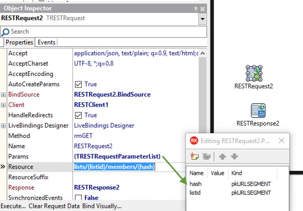 TRESTRequest URL Segment Paramaters