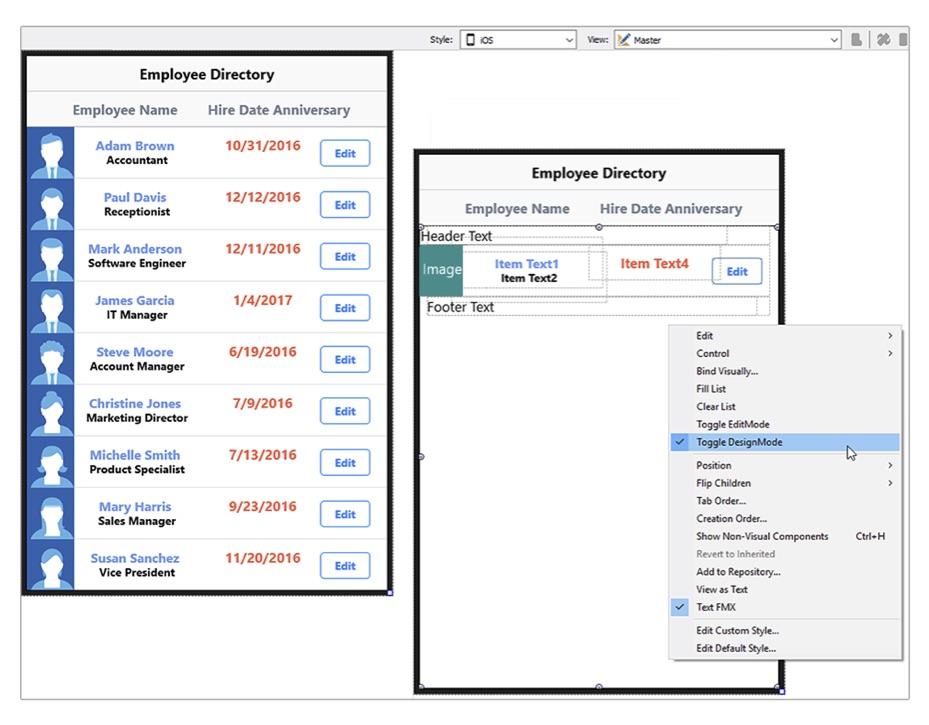 TListView DesignMode