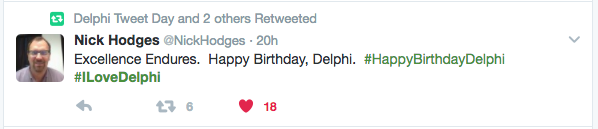 Happy Birthday Delphi #ILoveDelphi